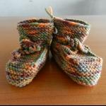 Details: Babyschuhe Orange/Olive