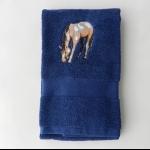 Details: Handtuch Dunkelblau Pferd 1