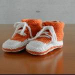 Details: Babyschuhe Orange/Weiss